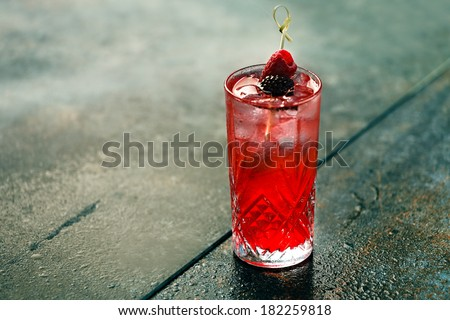 berry cooler cocktail - stock photo