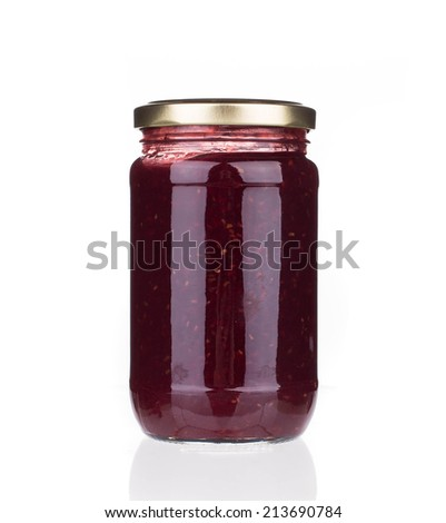 berry jam isolated on white background closeup - stock photo