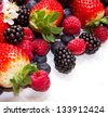 Berry over white  Wood. Strawberries, Raspberries, Blueberry - stock photo