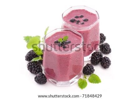 Berry smoothie with blueberry, blackberry, strawberry and cherry