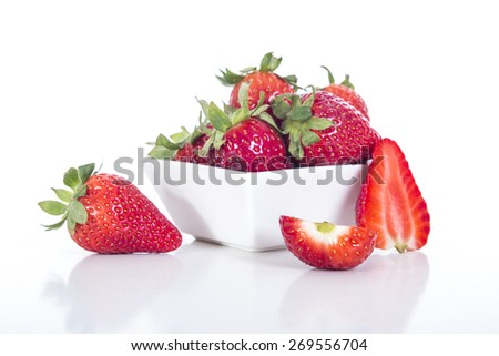 Berry. Strawberry. Group of strawberry on table wood - stock photo