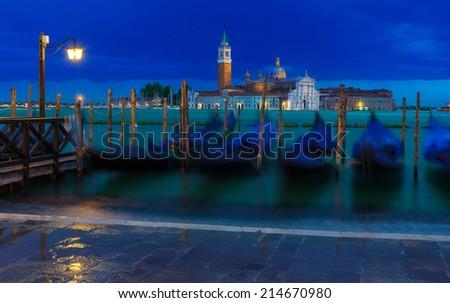 Berth of gondolas on San Marco square in Venice, Italy - stock photo