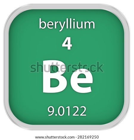 Beryllium material on the periodic table. Part of a series. - stock photo