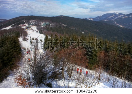 Beskydy mountains in winter - stock photo