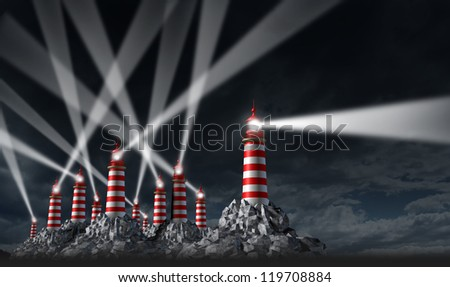 Best Advice business and financial guidance beacon with a group of confused light shinning  lighthouse tower buildings with one leader showing the right direction. - stock photo