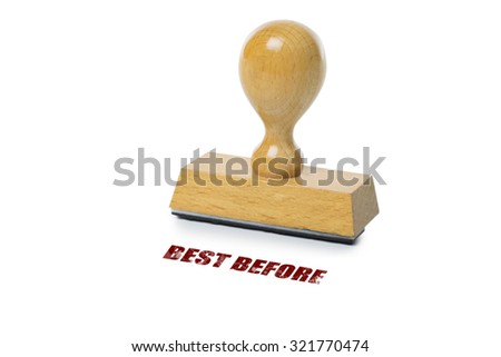 Best Before printed in red ink with wooden Rubber stamp isolated on white background - stock photo