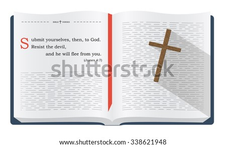 Best Bible verses about being a Christian - James 4:7. Holy scripture inspirational sayings for Bible studies and Christian websites, illustration isolated over white background - stock photo