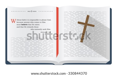 Best Bible verses to remember - Hebrews 11:6. Holy scripture inspirational sayings for Bible studies and Christian websites, illustration isolated over white background - stock photo
