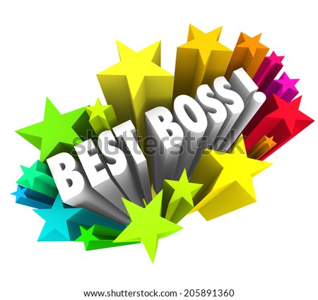 Best Boss words surrounded by colorful fireworks or stars recognize the top leader - stock photo