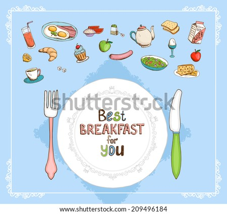 Best Breakfast For You elements set with a place setting with plate and cutlery and a selection of food icons with juice  eggs  tea  milk  cereal  apple  sausage  croissant  muffin and toast - stock photo