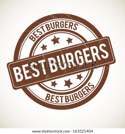 BEST BURGERS rubber stamp isolated on white background. - stock photo