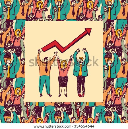 Best business team color card grow arrow. Big group business people and best team with grow arrow. Color illustration.  - stock photo
