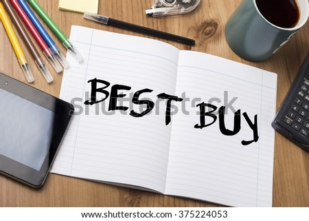 BEST BUY - Note Pad With Text On Wooden Table - with office  tools