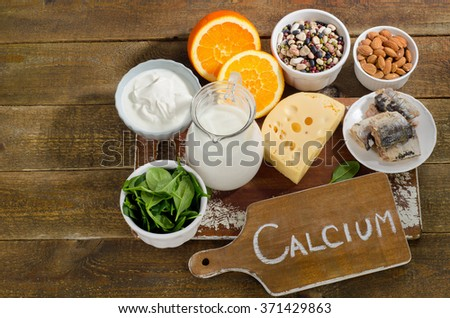 Best Calcium Rich Foods Sources. Healthy eating. Top view