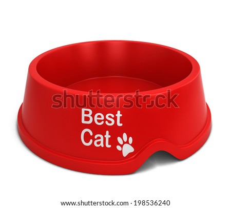 Best cat bowl. 3d illustration isolated on white background  - stock photo