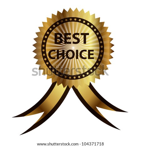 best choice  label with red ribbon. - stock photo