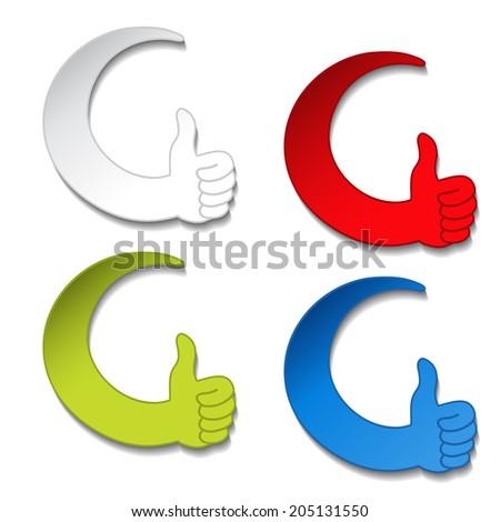 best choice stickers - gesture hand button - stock photo
