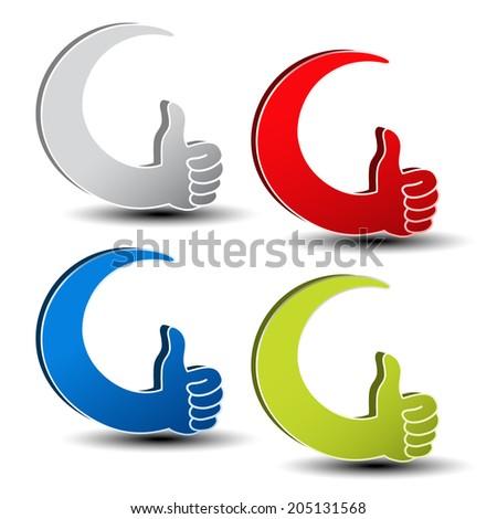 best choice symbols - gesture hand - stock photo