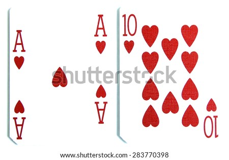 best classic winning blackjack combination ten and ace of hearts - stock photo