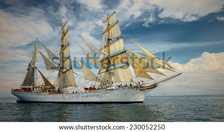 Best cruise ships. collection of yachts, ships and boats - stock photo