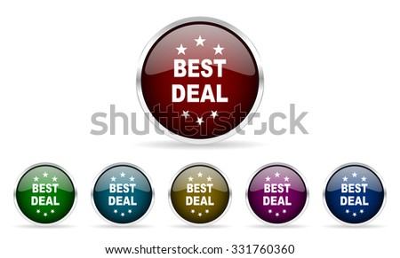 best deal colorful glossy circle web icons set