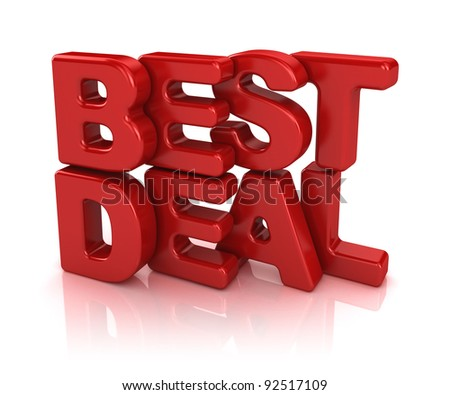 best deal 3d isolated over white background - stock photo