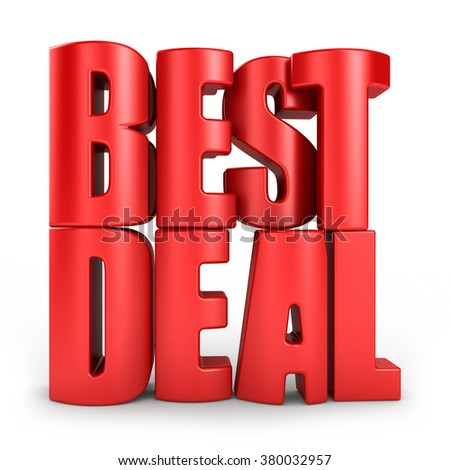Best deal 3d text in red letters isolated over white background