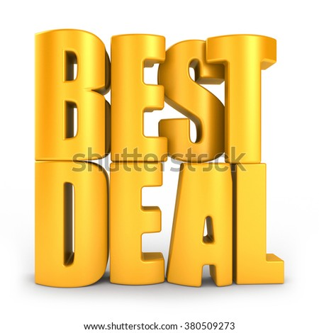 Best deal 3d text isolated over white background