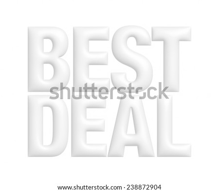 Best deal 3d text on white background.