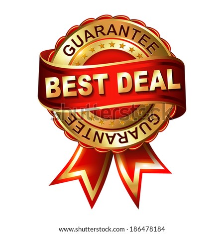 Best deal guarantee golden label with ribbon.