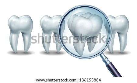 Best dental care concept as a group of teeth with one molar tooth in a magnifying glass as a patient choice for choosing a dentist and dentistry clinic or oral surgeon on a white background. - stock photo