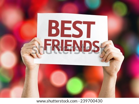 Best Friends card with colorful background with defocused lights - stock photo
