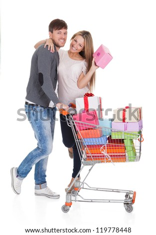 Best friends shop valuable gifts for christmas presents. Isolated on white - stock photo