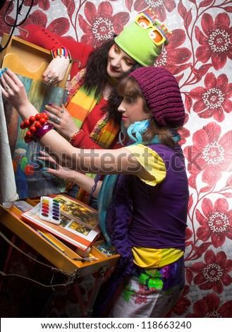 Best friends. Two young artist's with with drawing tools - stock photo