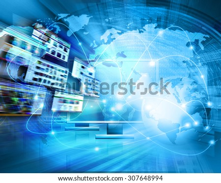 Best Internet Concept of global business from concepts series. Technology background.Electronics, bright lines and rays, symbols of the Internet, radio, television, mobile and satellite communications - stock photo