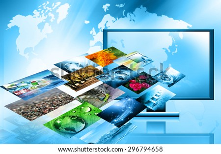 Best Internet Concept of global business from concepts series. Television and internet production technology concept - stock photo