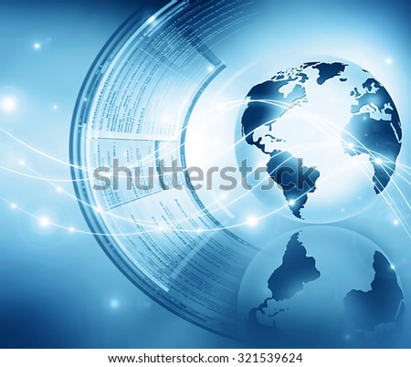 Best Internet Concept of global business. Globe, glowing lines on technological background. Electronics, Wi-Fi, rays, symbols Internet, television, mobile and satellite communications.