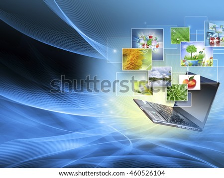 Best Internet Concept of global business. Globe,laptop on technological background. Electronics, Wi-Fi, rays, symbols Internet, television communications - stock photo