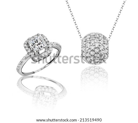 Best jewelry set ring and pendant. Symbol of love - stock photo