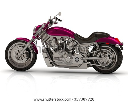Best motorcycle bike Bright beautiful color type on white background from the side