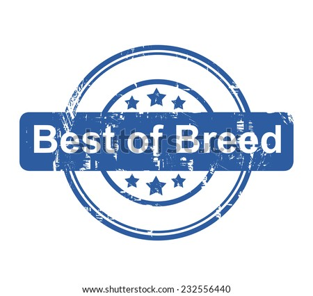 Best of breed business concept stamp with stars isolated on a white background. - stock photo