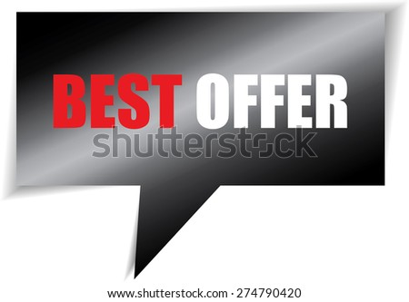 Best offer black speech bubbles square template | business banner with symbol icon. - stock photo