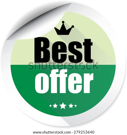 Best offer green with crown and stars badge label, sticker, tag and sign on white background. - stock photo
