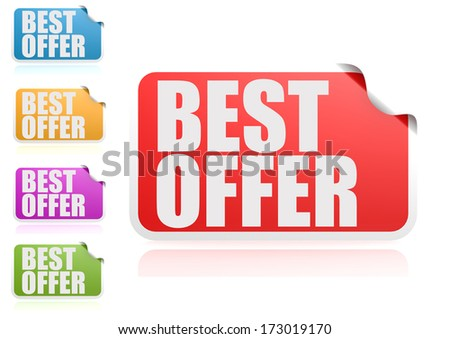 Best offer label set - stock photo