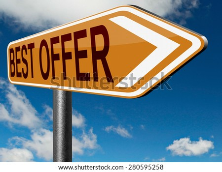 best offer lowest price deal for value web shop or online promotion road sign   - stock photo