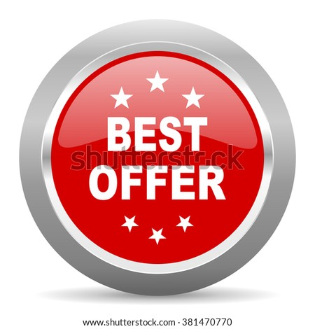 best offer red chrome web circle glossy icon