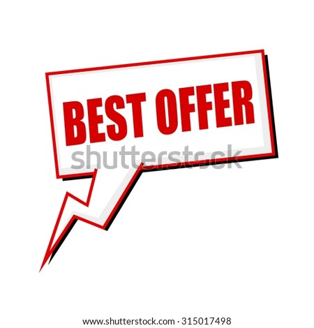 best offer red stamp text on white Speech bubbles