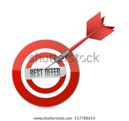best offer target and dart illustration design over a white background - stock photo