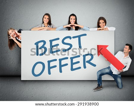 Best offer word writing on white banner