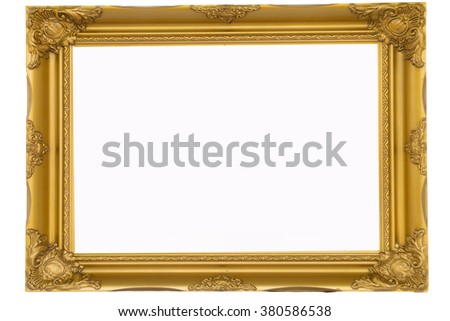 best old picture frame on white background. - stock photo